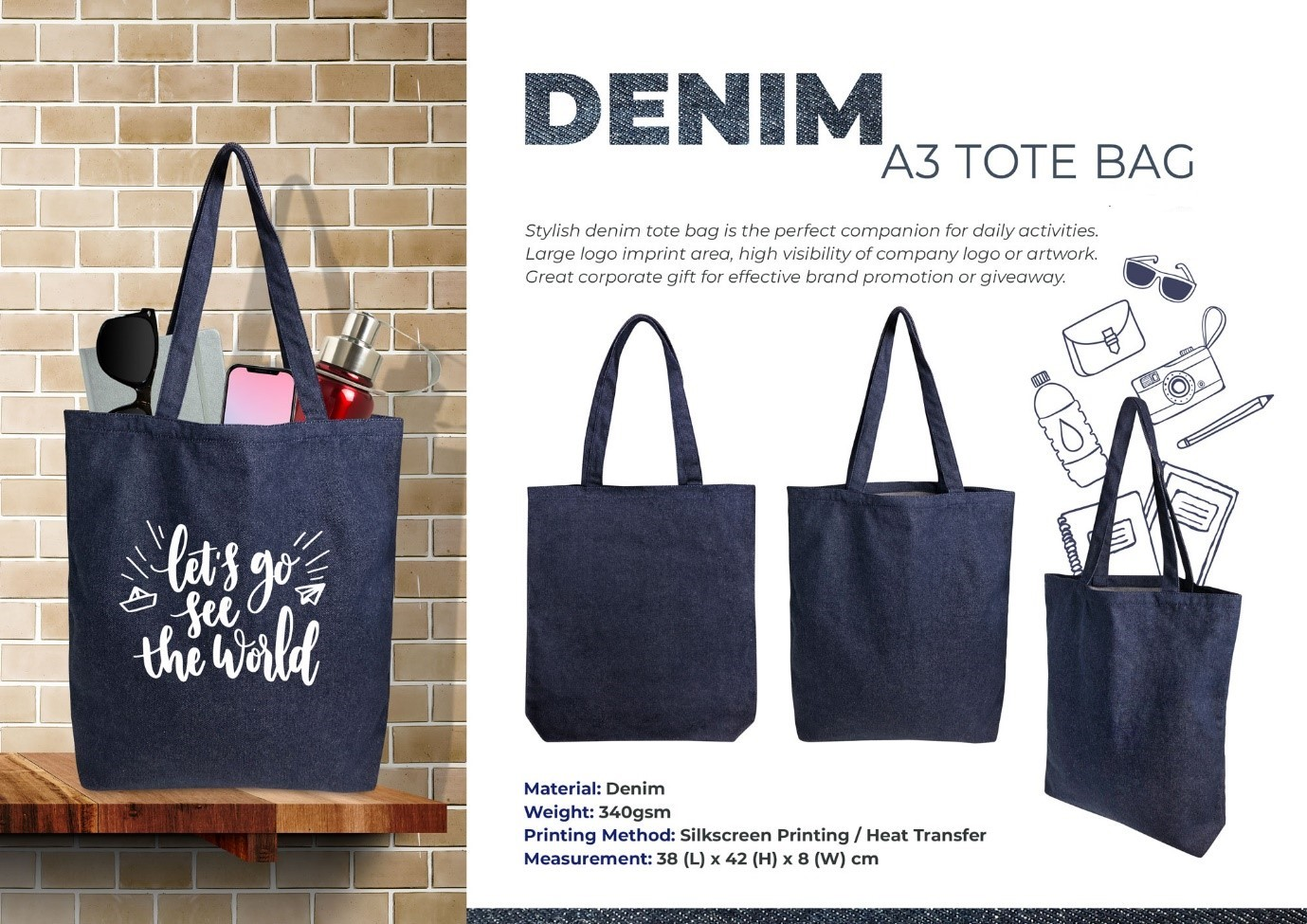 A3 Denim Tote Bag The Gift Embly